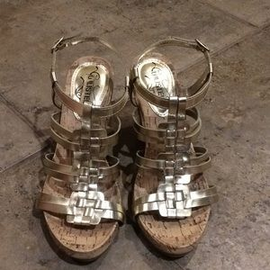 Unlisted by Kenneth Cole Gold Wedge Sandels Size 8